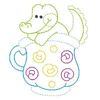 Crocodile in a cup machine embroidery design by embroiderytree.com
