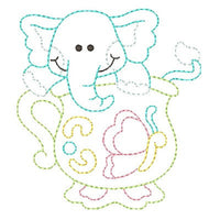 Elephant in a cup machine embroidery design by embroiderytree.com