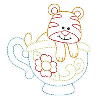 Tiger in a cup machine embroidery design by embroiderytree.com