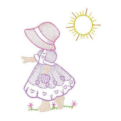 Sun bonnet girl machine embroidery design by embroiderytree.com