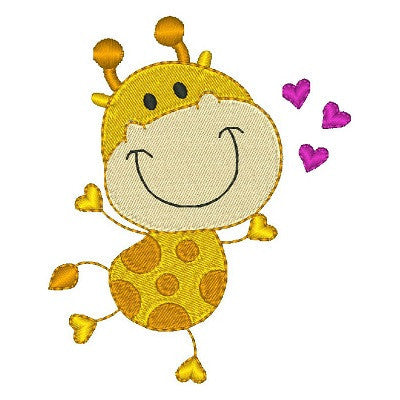 Big head giraffe machine embroidery design by embroiderytree.com