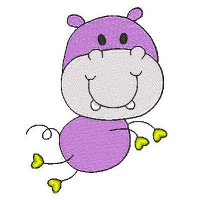 Big head hippo machine embroidery design by embroiderytree.com