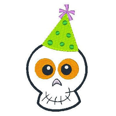 Halloween Skull with Party Hat - Embroidery Tree