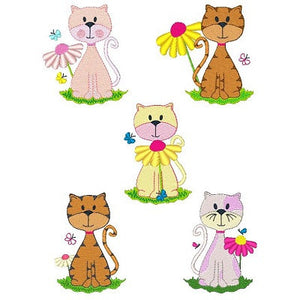 Spring Cats Set of machine embroidery designs by embroiderytree.com
