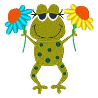 Frog machine embroidery design by embroiderytree.com
