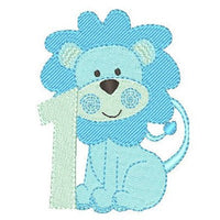 1st birthday lion machine embroidery design by rosiedayembroidery.com
