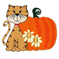 Cute autumn cat with pumpkin machine embroidery design by embroiderytree.com