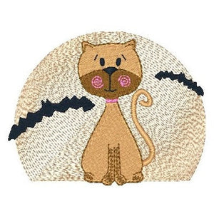Cute autumn cat with harvest moon machine embroidery design by embroiderytree.com