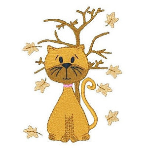 Cute autumn cat machine embroidery design by embroiderytree.com