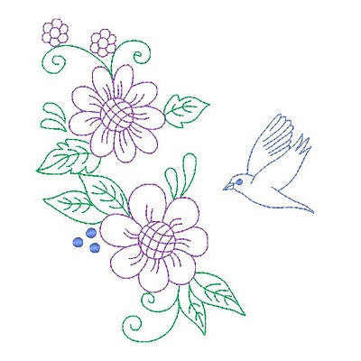 Spring flowers and birds machine embroidery design by embroiderytree.com