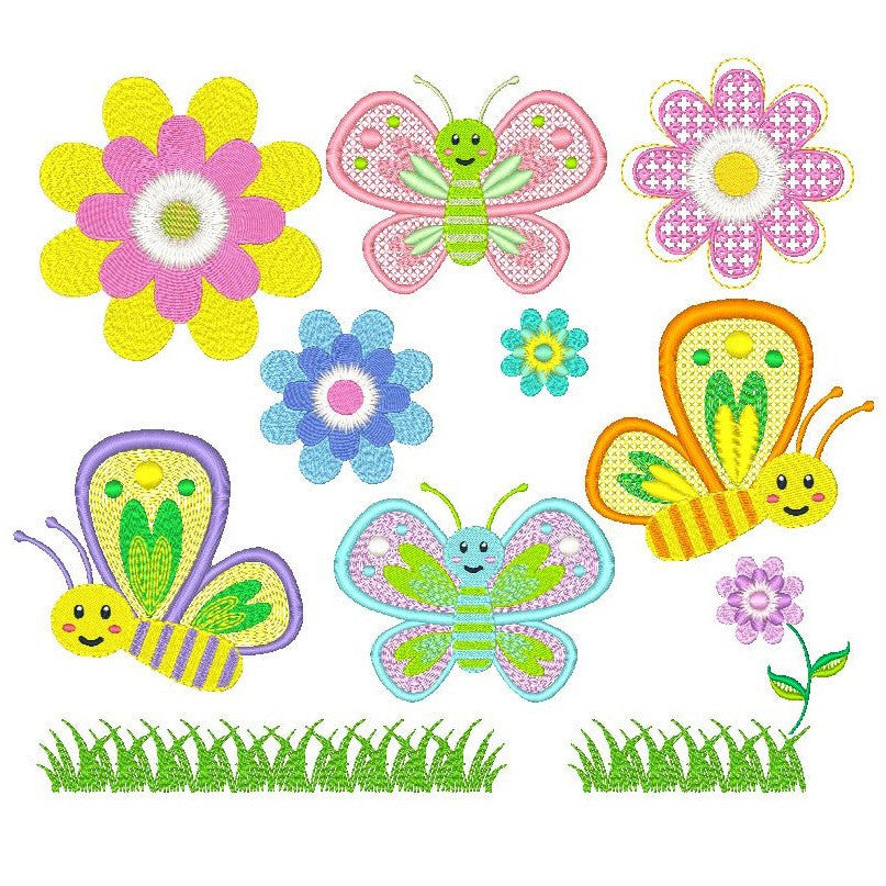 Lovely Butterflies Set of machine embroidery designs by embroiderytree.com