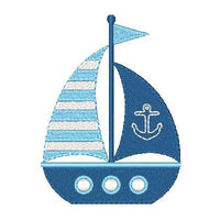 Sailboat machine embroidery design by embroiderytree.com
