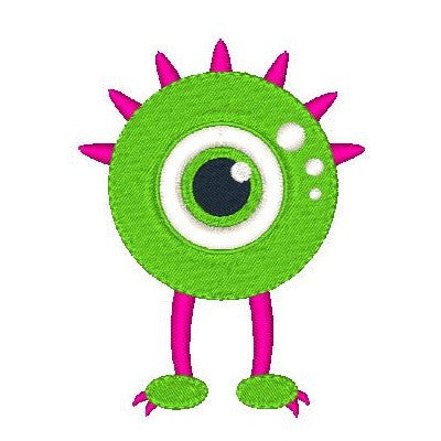 Silly monster machine embroidery design by embroiderytree.com