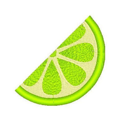 Lime slice machine embroidery design by embroiderytree.com