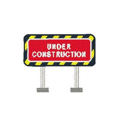Construction road sign machine embroidery design by embroiderytree.com