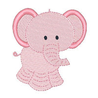 Pink elephant machine embroidery design by embroiderytree.com