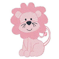 Pink lion machine embroidery design by embroiderytree.com