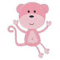Pink monkey machine embroidery design by embroiderytree.com