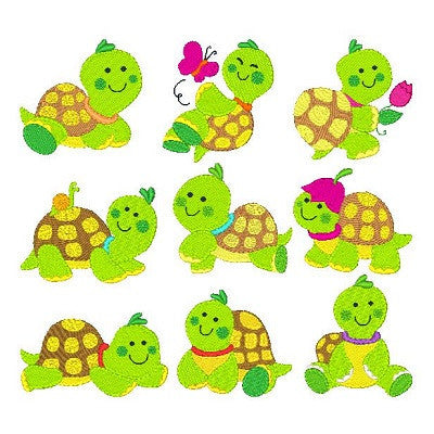 Baby Turtles Set - machine embroidery designs by embroiderytree.com