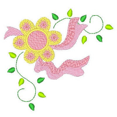 Floral corner machine embroidery design by embroiderytree.com