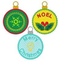 Christmas ornament fill stitch machine embroidery design by rosiedayembroidery.com