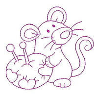 Roly poly sewing mouse machine embroidery design by embroiderytree.com
