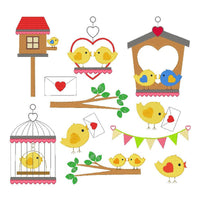 Love Birds Set of machine embroidery designs by embroiderytree.com