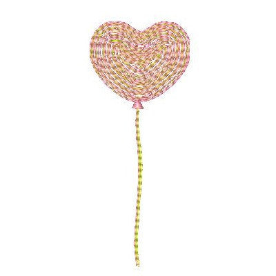 Valentine heart balloon machine embroidery design by embroiderytree.com