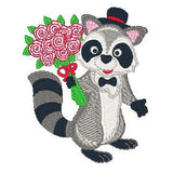 Valentine raccoon machine embroidery designs by embroiderytree.com