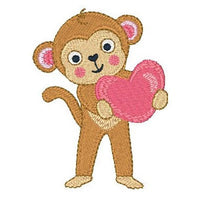 Valentine monkey machine embroidery designs by embroiderytree.com