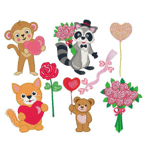 Valentine animals machine embroidery designs by embroiderytree.com