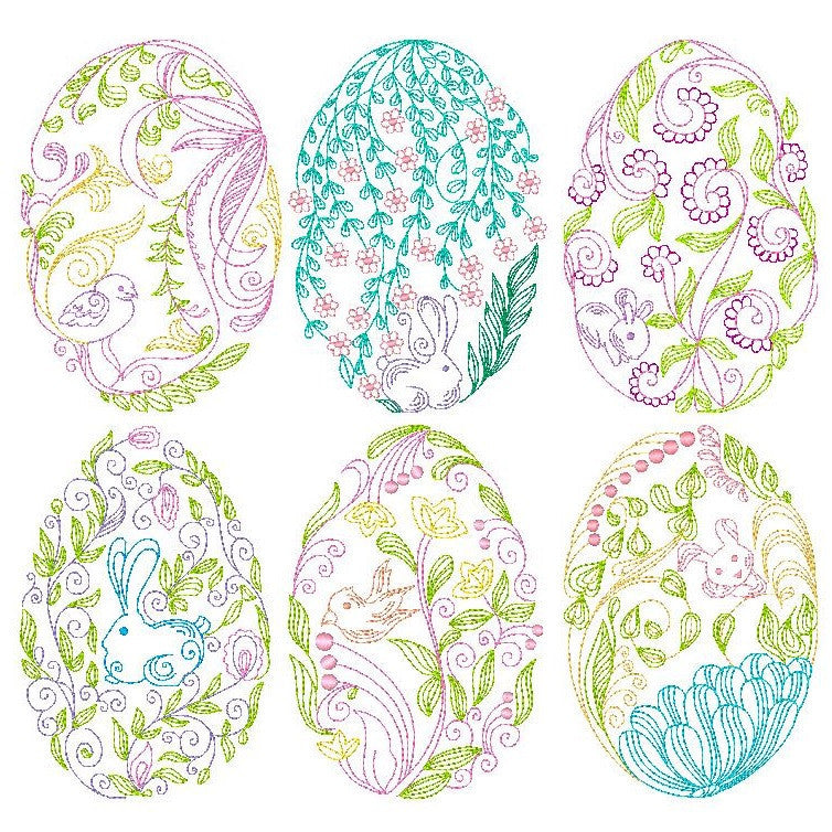 Fabulous Easter Eggs - Set of 6 machine embroidery designs by rosiedayembroidery.com