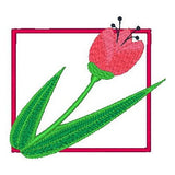 Garden Flower applique machine embroidery design by rosiedayembroidery.com