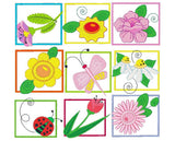 Garden Flowers Set machine embroidery designs by rosiedayembroidery.com