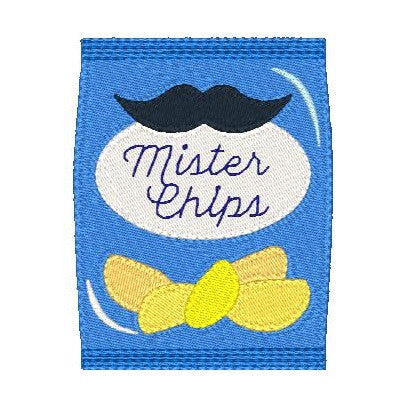 Potato chips machine embroidery design by rosiedayembroidery.com