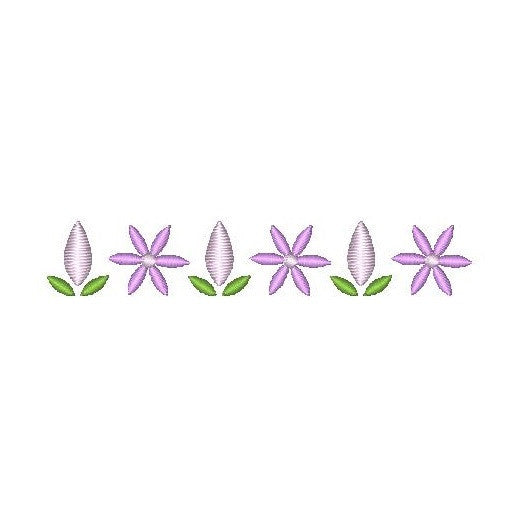 Purple floral border machine embroidery design by rosiedayembroidery.com