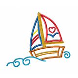 Sail boat applique machine embroidery design by rosiedayembroidery.com