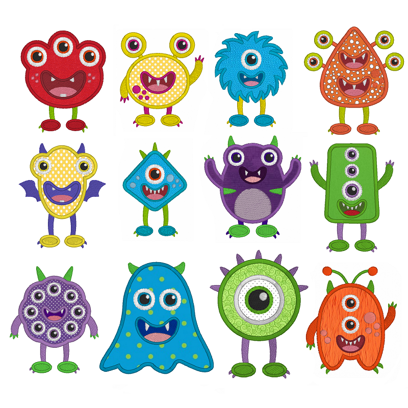 Monster applique machine embroidery designs by embroiderytree.com