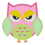 Owl applique machine embroidery design by embroiderytree.com