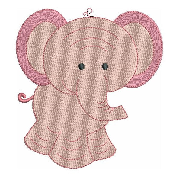 Baby elephant fill stitch machine embroidery design by rosiedayembroidery.com