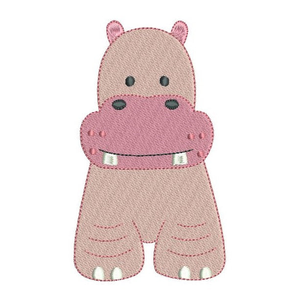 Baby hippo fill stitch machine embroidery design by rosiedayembroidery.com