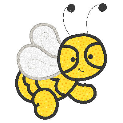 Bee applique machine embroidery design by rosiedayembroidery.com