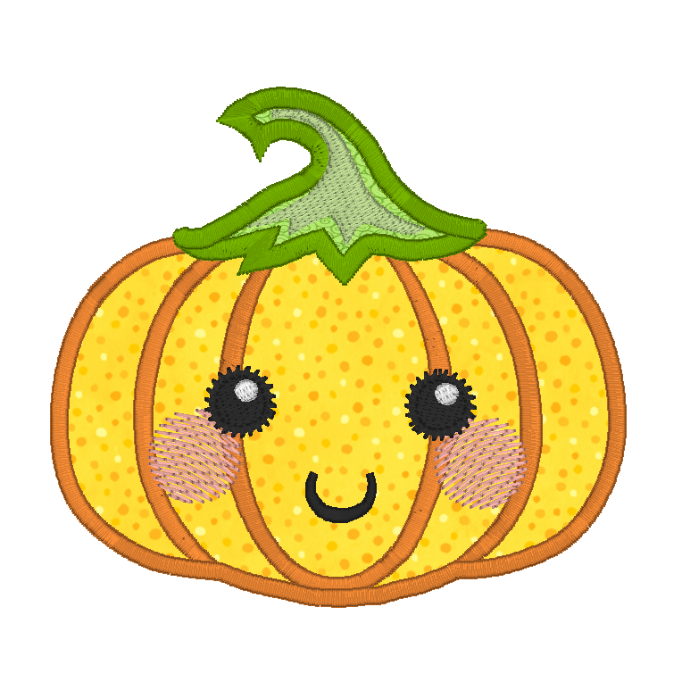 Halloween Kawaii pumpkin applique machine embroidery design by rosiedayembroidery.com
