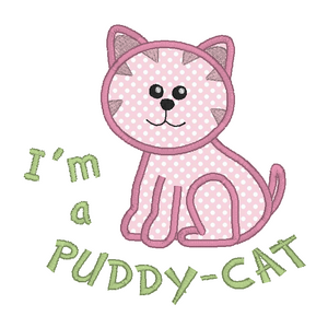 Puddy Cat applique machine embroidery design by rosiedayembroidery.com