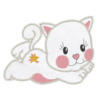 Kitten Applique Machine Embroidery Design by rosiedayembroidery.com