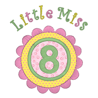 Girl's 8th birthday applique machine embroidery design by rosiedayembroidery.com