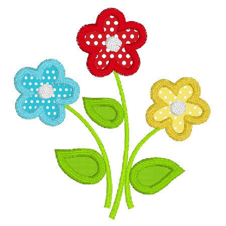 Floral applique machine embroidery design by rosiedayembroidery.com