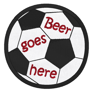 Soccer ball coaster applique machine embroidery design by rosiedayembroidery.com
