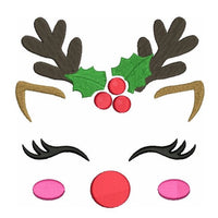 Christmas reindeer face machine embroidery design by rosiedayembroidery.com