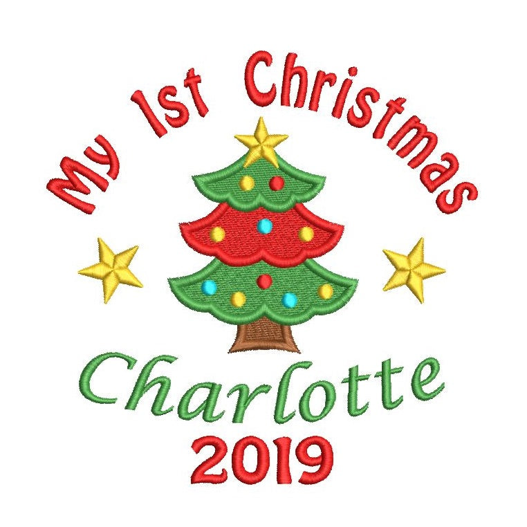 My 1st Christmas - machine embroidery template design by rosiedayembroidery.com